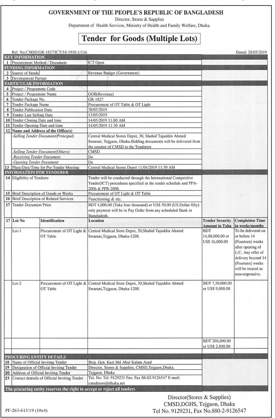 Tender for Goods (Multiple Lots) - Mar 29, কালের